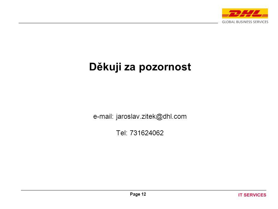 Page 12 Děkuji za pozornost e-mail: jaroslav.zitek@dhl.com Tel: 731624062