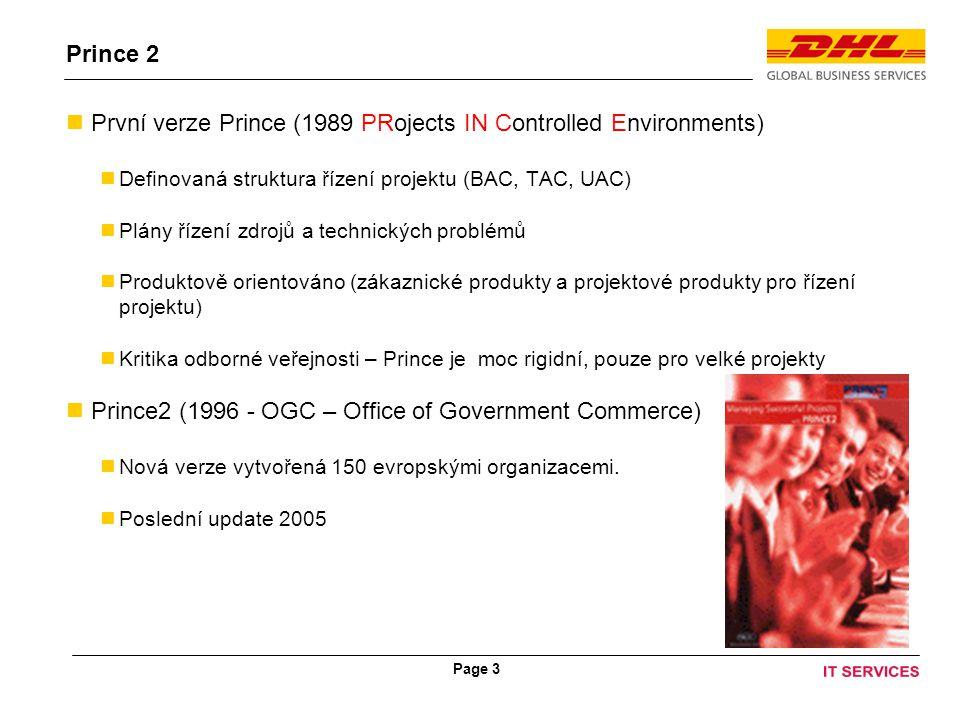 Page 3 Prince 2 První verze Prince (1989 PRojects IN Controlled Environments) Definovaná struktura řízení projektu (BAC, TAC, UAC) Plány řízení zdrojů a technických problémů Produktově orientováno (zákaznické produkty a projektové produkty pro řízení projektu) Kritika odborné veřejnosti – Prince je moc rigidní, pouze pro velké projekty Prince2 (1996 - OGC – Office of Government Commerce) Nová verze vytvořená 150 evropskými organizacemi.