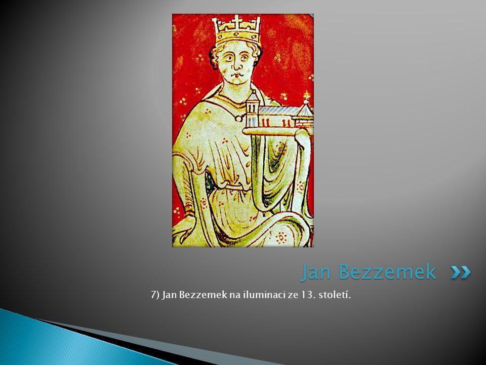7) Jan Bezzemek na iluminaci ze 13. století. Jan Bezzemek