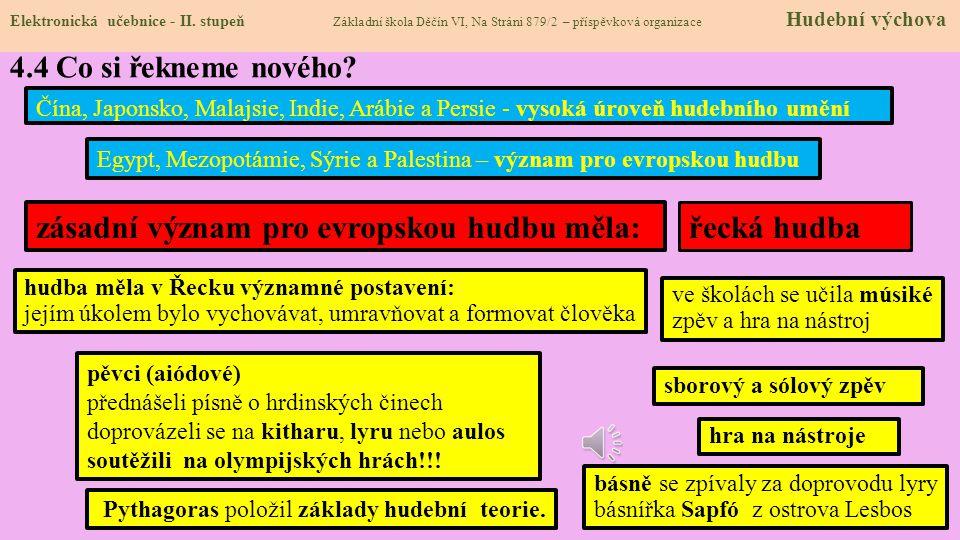 Elektronická učebnice - II. stupeň Základní škola Děčín VI, Na Stráni 879/2 – příspěvková organizace Hudební výchova 4.3 Jaké si řekneme nové termíny
