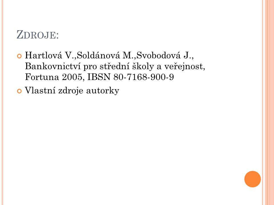 Z DROJE : Hartlová V.,Soldánová M.,Svobodová J., Bankovnictví pro střední školy a veřejnost, Fortuna 2005, IBSN 80-7168-900-9 Vlastní zdroje autorky