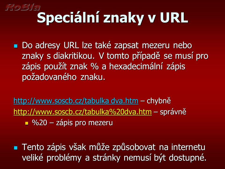 Speciální znaky v URL Do adresy URL lze také zapsat mezeru nebo znaky s diakritikou. V tomto případě se musí pro zápis použít znak % a hexadecimální z