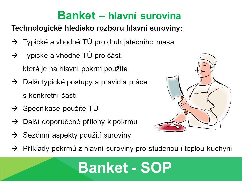 Banket – hlavní surovina Technologické hledisko rozboru hlavní suroviny:  Typické a vhodné TÚ pro druh jatečního masa  Typické a vhodné TÚ pro část,