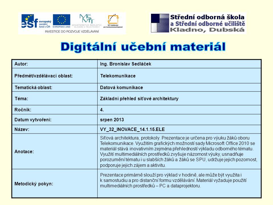 Autor:Ing. Bronislav Sedláček Předmět/vzdělávací oblast:Telekomunikace Tematická oblast:Datová komunikace Téma:Základní přehled síťové architektury Ro