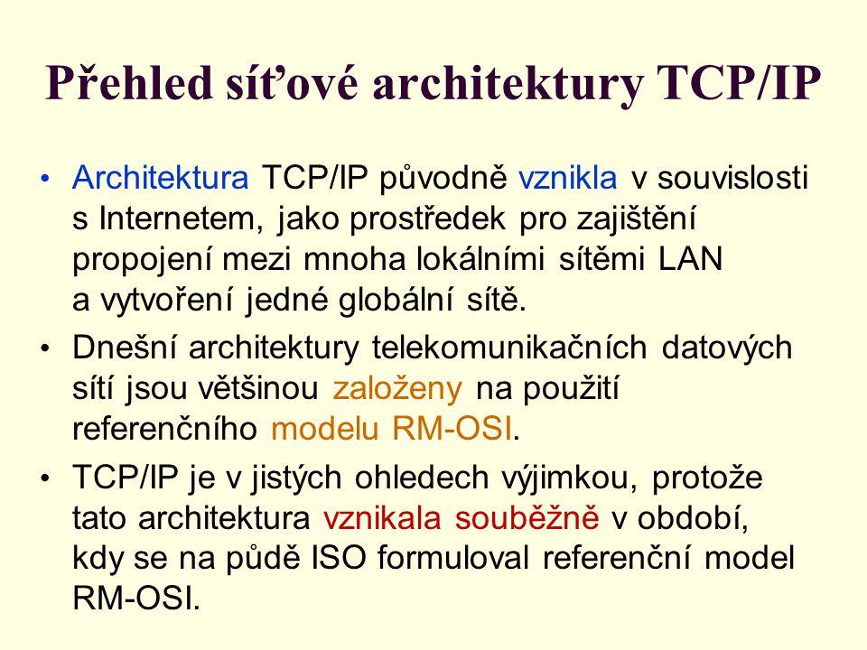 Přehled síťové architektury TCP/IP Architektura TCP/IP původně vznikla v souvislosti s Internetem, jako prostředek pro zajištění propojení mezi mnoha lokálními sítěmi LAN a vytvoření jedné globální sítě.