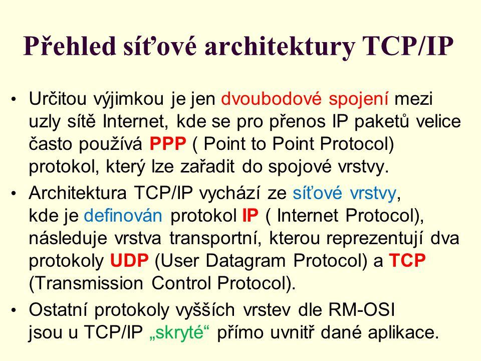 Přehled síťové architektury TCP/IP Určitou výjimkou je jen dvoubodové spojení mezi uzly sítě Internet, kde se pro přenos IP paketů velice často používá PPP ( Point to Point Protocol) protokol, který lze zařadit do spojové vrstvy.