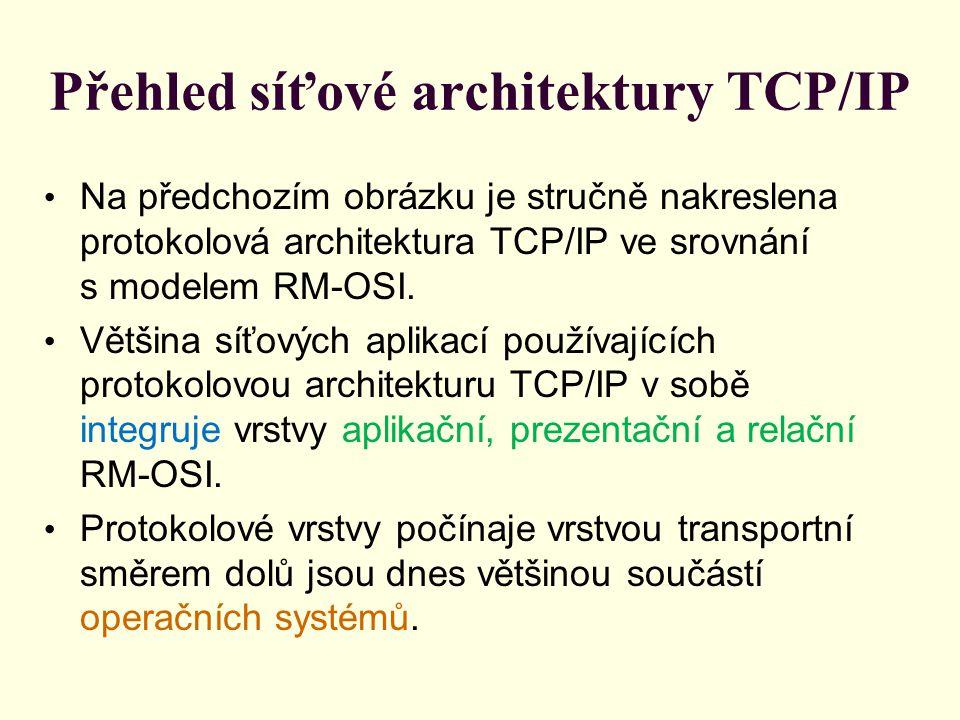 Přehled síťové architektury TCP/IP Na předchozím obrázku je stručně nakreslena protokolová architektura TCP/IP ve srovnání s modelem RM-OSI.