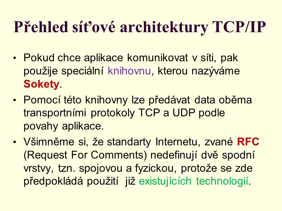Přehled síťové architektury TCP/IP Pokud chce aplikace komunikovat v síti, pak použije speciální knihovnu, kterou nazýváme Sokety.
