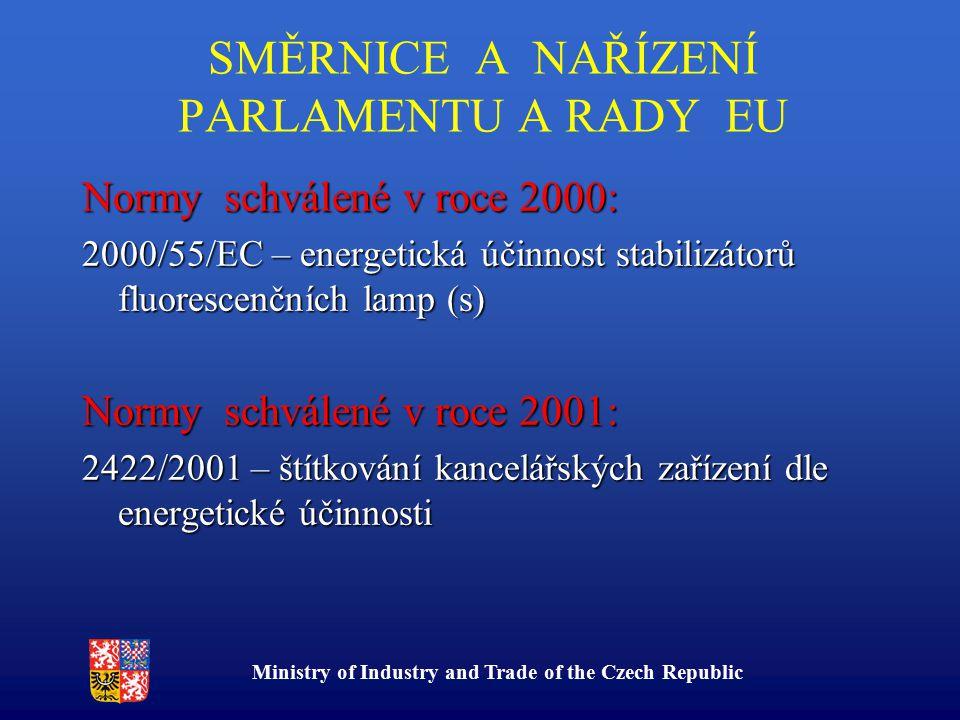 Ministry of Industry and Trade of the Czech Republic SMĚRNICE A NAŘÍZENÍ PARLAMENTU A RADY EU Normy schválené v roce 2000: 2000/55/EC – energetická účinnost stabilizátorů fluorescenčních lamp (s) Normy schválené v roce 2001: 2422/2001 – štítkování kancelářských zařízení dle energetické účinnosti