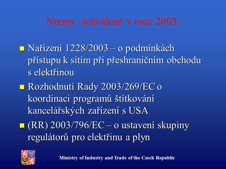 Ministry of Industry and Trade of the Czech Republic Normy schválené v roce 2003: Nařízení 1228/2003 – o podmínkách přístupu k sítím při přeshraničním