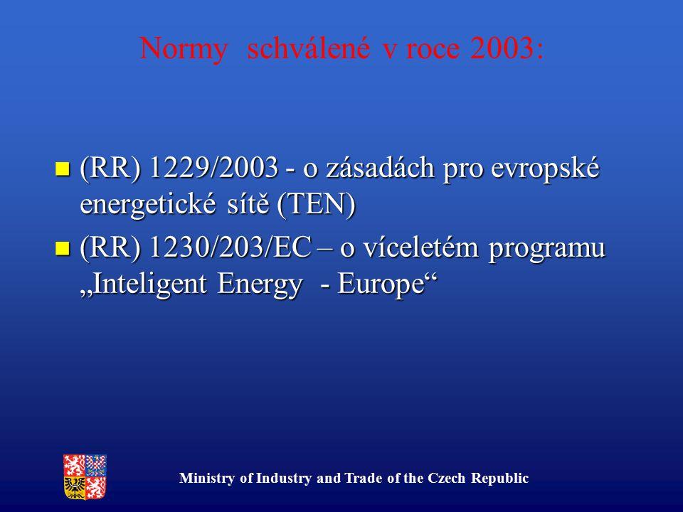 """Ministry of Industry and Trade of the Czech Republic Normy schválené v roce 2003: (RR) 1229/2003 - o zásadách pro evropské energetické sítě (TEN) (RR) 1229/2003 - o zásadách pro evropské energetické sítě (TEN) (RR) 1230/203/EC – o víceletém programu """"Inteligent Energy - Europe (RR) 1230/203/EC – o víceletém programu """"Inteligent Energy - Europe"""