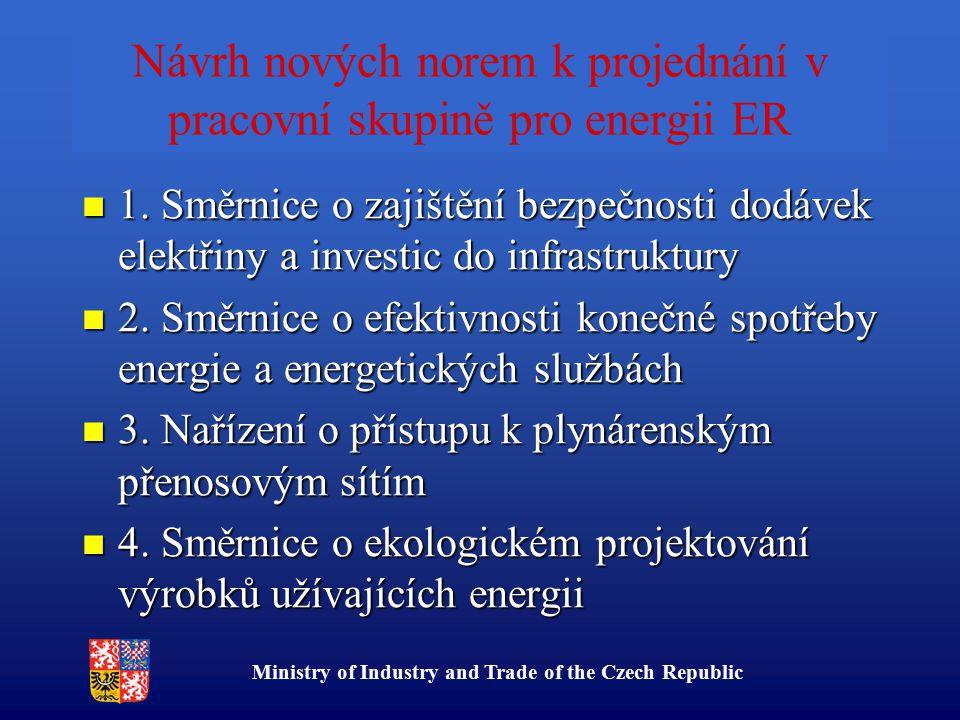 Ministry of Industry and Trade of the Czech Republic Návrh nových norem k projednání v pracovní skupině pro energii ER 1. Směrnice o zajištění bezpečn