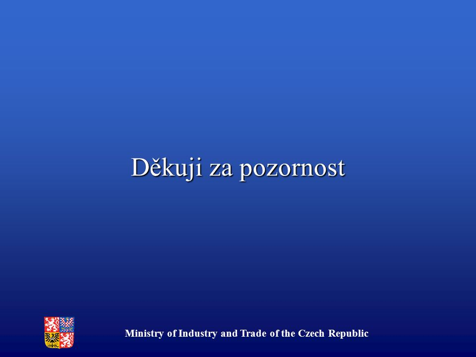 Ministry of Industry and Trade of the Czech Republic Děkuji za pozornost