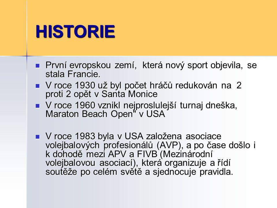 HISTORIE 1986 založení FIVB - Světové rady beachvolejbalu 1986 založení FIVB - Světové rady beachvolejbalu I.