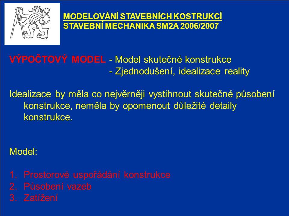 VÝPOČTOVÝ MODEL - Model skutečné konstrukce - Zjednodušení, idealizace reality Idealizace by měla co nejvěrněji vystihnout skutečné působení konstrukc