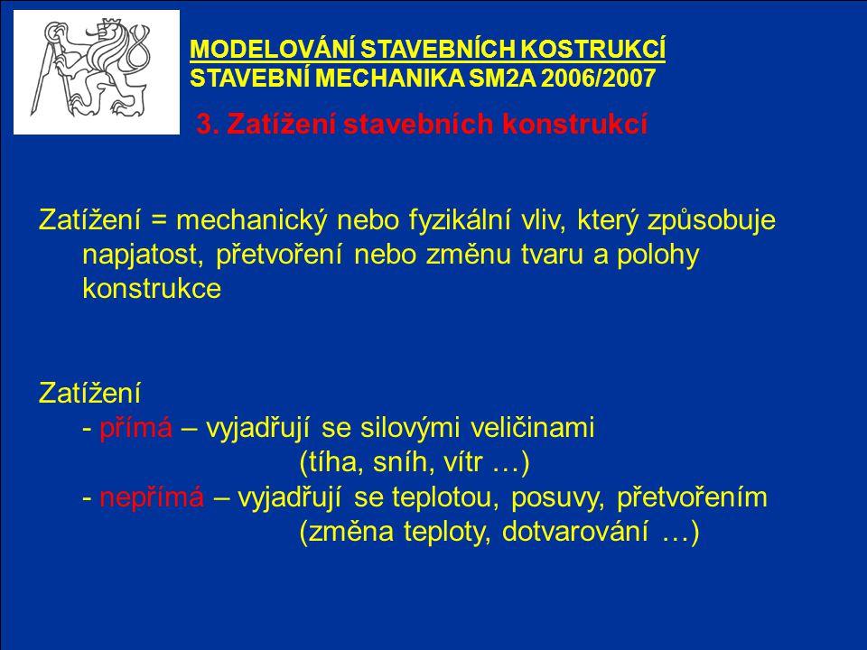3. Zatížení stavebních konstrukcí MODELOVÁNÍ STAVEBNÍCH KOSTRUKCÍ STAVEBNÍ MECHANIKA SM2A 2006/2007 Zatížení = mechanický nebo fyzikální vliv, který z