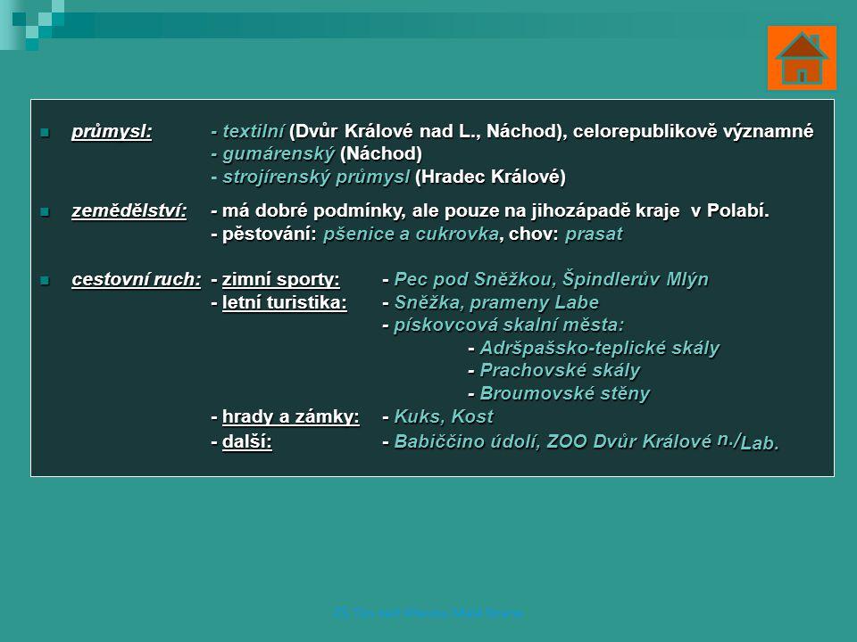průmysl:- textilní (Dvůr Králové nad L., Náchod), celorepublikově významné průmysl:- textilní (Dvůr Králové nad L., Náchod), celorepublikově významné - gumárenský (Náchod) strojírenský průmysl (Hradec Králové) - strojírenský průmysl (Hradec Králové) zemědělství:- má dobré podmínky, ale pouze na jihozápadě kraje v Polabí.