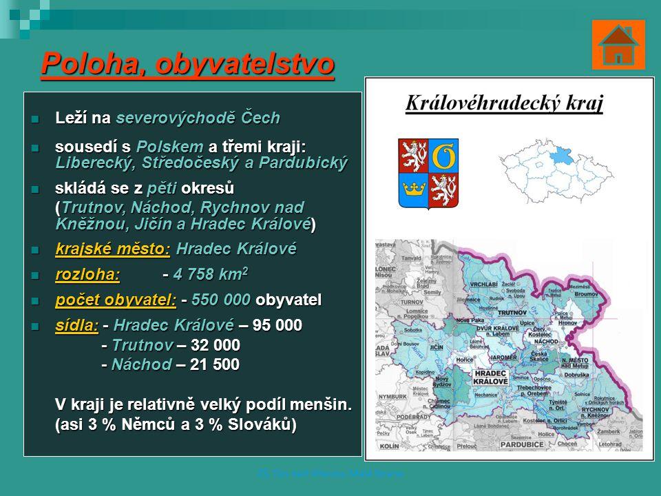 Poloha, obyvatelstvo Leží na severovýchodě Čech Leží na severovýchodě Čech sousedí s Polskem a třemi kraji: Liberecký, Středočeský a Pardubický soused