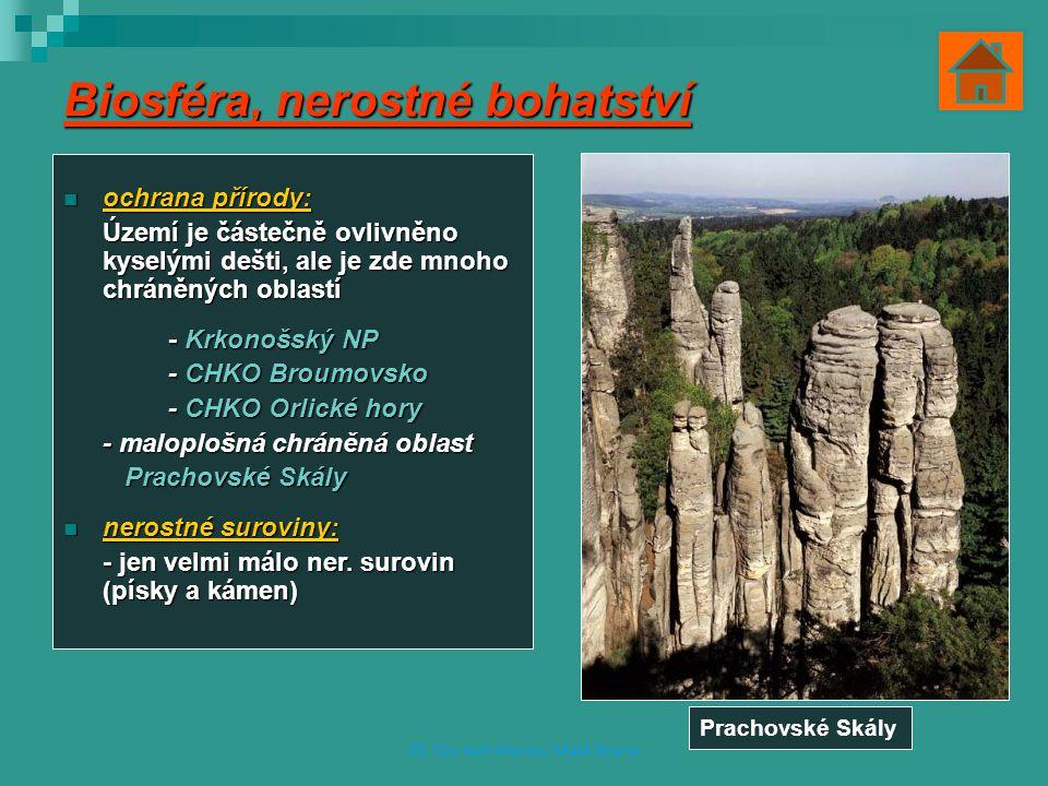 Biosféra, nerostné bohatství ochrana přírody: ochrana přírody: Území je částečně ovlivněno kyselými dešti, ale je zde mnoho chráněných oblastí - Krkonošský NP - CHKO Broumovsko - CHKO Orlické hory - maloplošná chráněná oblast Prachovské Skály Prachovské Skály nerostné suroviny: nerostné suroviny: - jen velmi málo ner.