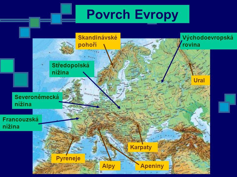 Povrch Evropy Východoevropská rovina Středopolská nížina Severoněmecká nížina Francouzská nížina Alpy Karpaty Pyreneje Skandinávské pohoří Ural Apeniny