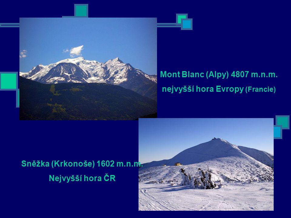 Mont Blanc (Alpy) 4807 m.n.m.nejvyšší hora Evropy (Francie) Sněžka (Krkonoše) 1602 m.n.m.