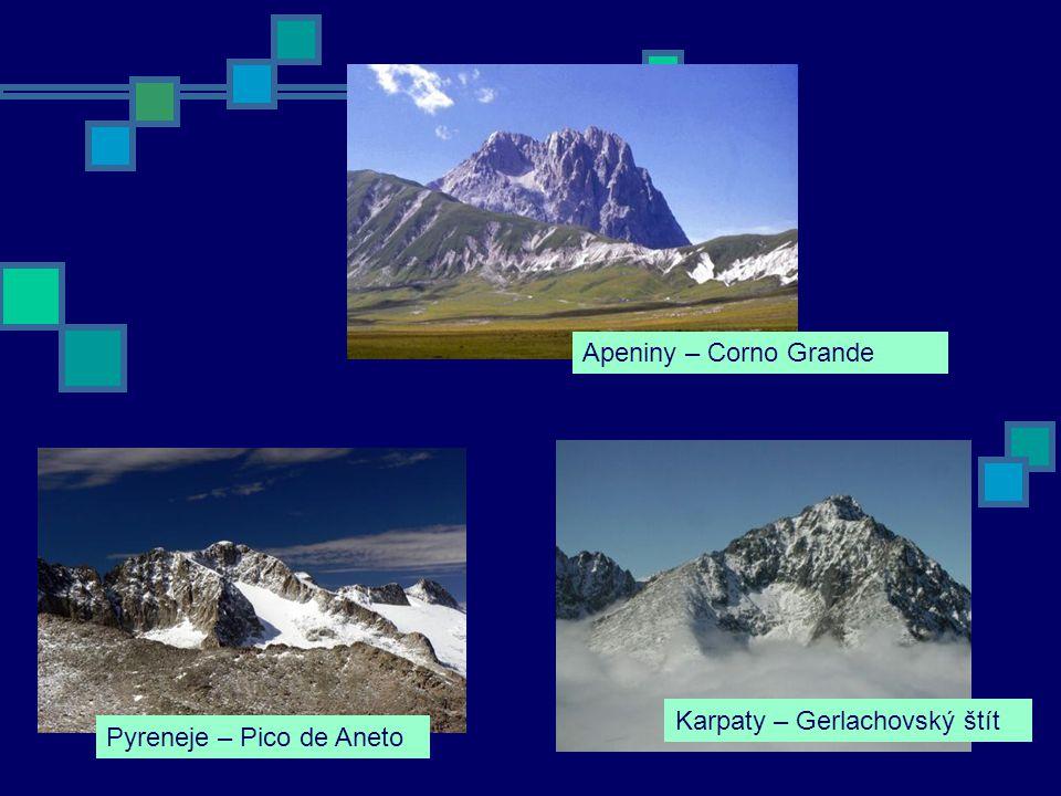 Karpaty – Gerlachovský štít Apeniny – Corno Grande Pyreneje – Pico de Aneto