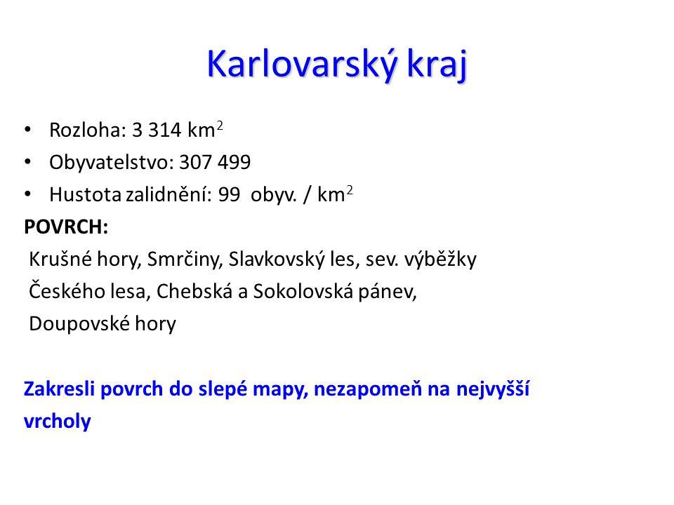 Karlovarský kraj Rozloha: 3 314 km 2 Obyvatelstvo: 307 499 Hustota zalidnění: 99 obyv.