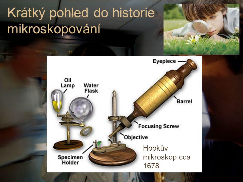 Hookův mikroskop cca 1678 Krátký pohled do historie mikroskopování