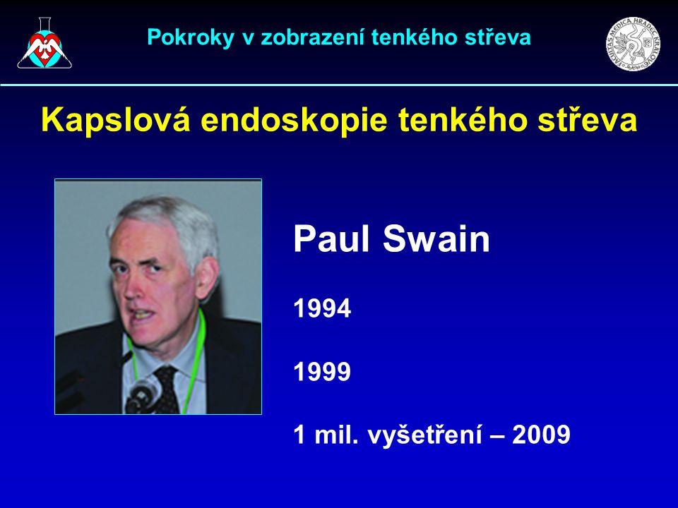 Pokroky v zobrazení tenkého střeva Kapslová endoskopie tenkého střeva Paul Swain 1994 1999 1 mil. vyšetření – 2009
