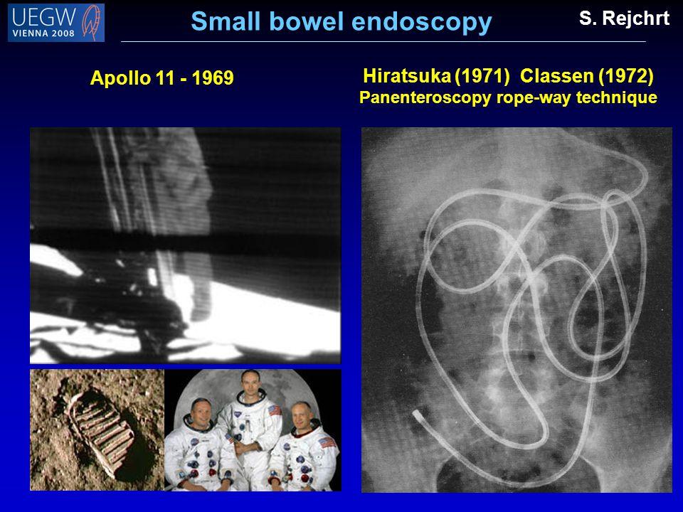 Apollo 11 - 1969 Hiratsuka (1971) Classen (1972) Panenteroscopy rope-way technique Small bowel endoscopy S. Rejchrt