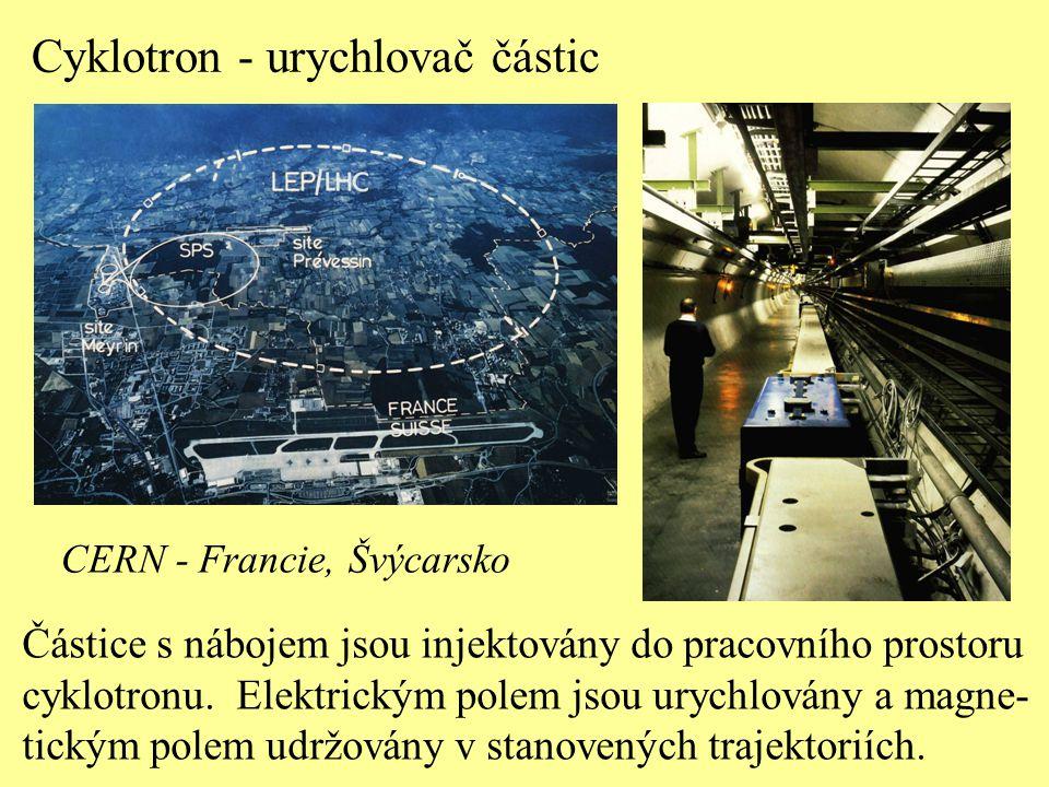 Cyklotron - urychlovač částic Částice s nábojem jsou injektovány do pracovního prostoru cyklotronu. Elektrickým polem jsou urychlovány a magne- tickým