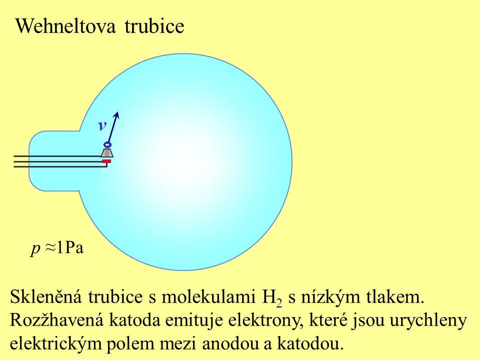 Skleněná trubice s molekulami H 2 s nízkým tlakem. Rozžhavená katoda emituje elektrony, které jsou urychleny elektrickým polem mezi anodou a katodou.