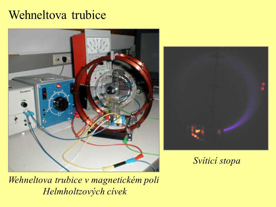 Wehneltova trubice v magnetickém poli Helmholtzových cívek Wehneltova trubice Svíticí stopa