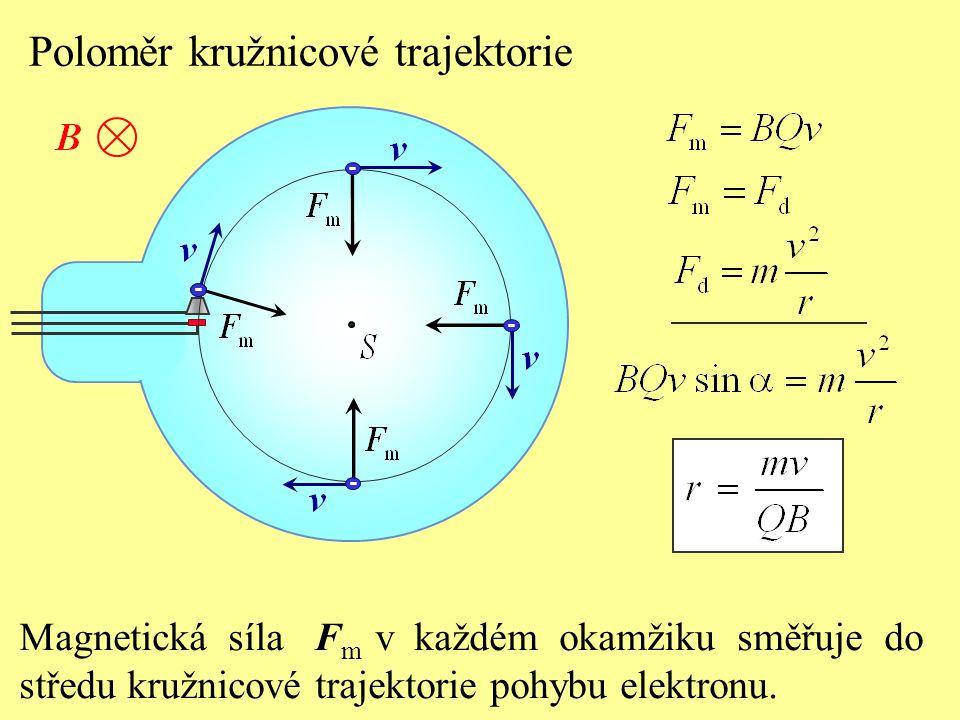 Poloměr kružnicové trajektorie - - - - - r - poloměr kružnicové trajektorie m,Q - hmotnost a elektrický náboj částice B - velikost magnetické indukce