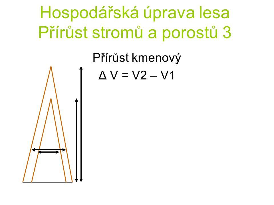 Hospodářská úprava lesa Přírůst stromů a porostů 3 Přírůst kmenový Δ V = V2 – V1