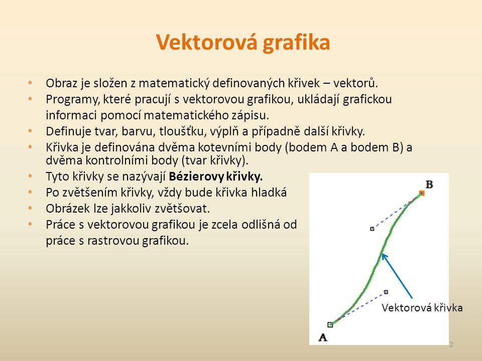 Vektorová grafika Obraz je složen z matematický definovaných křivek – vektorů. Programy, které pracují s vektorovou grafikou, ukládají grafickou infor