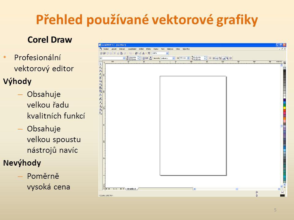 Přehled používané vektorové grafiky Corel Draw Profesionální vektorový editor Výhody – Obsahuje velkou řadu kvalitních funkcí – Obsahuje velkou spoustu nástrojů navíc Nevýhody – Poměrně vysoká cena 5