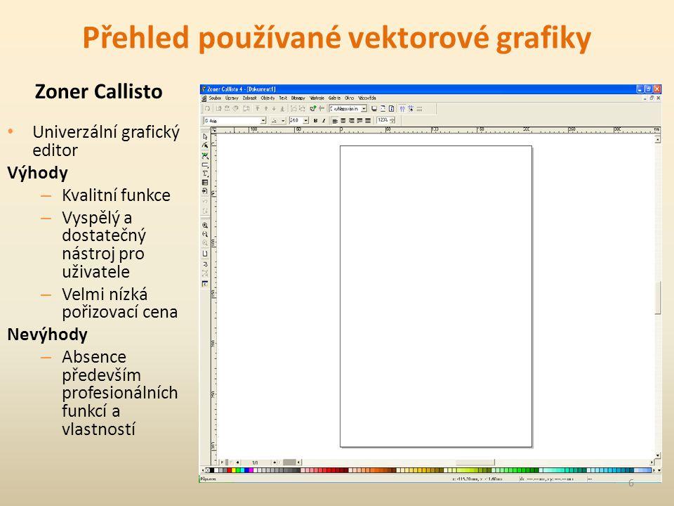 Přehled používané vektorové grafiky Univerzální grafický editor Výhody – Kvalitní funkce – Vyspělý a dostatečný nástroj pro uživatele – Velmi nízká pořizovací cena Nevýhody – Absence především profesionálních funkcí a vlastností Zoner Callisto 6