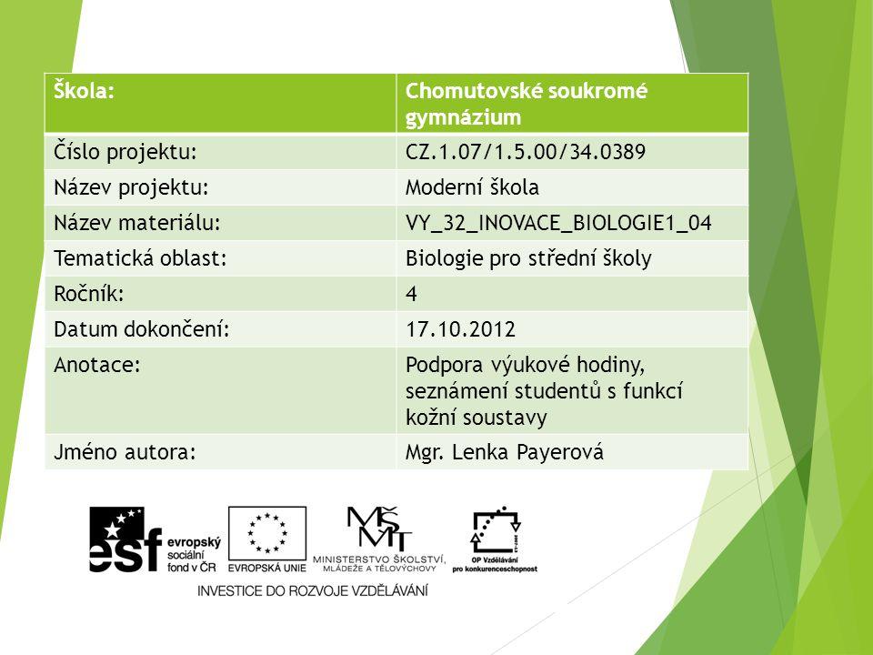 Škola:Chomutovské soukromé gymnázium Číslo projektu:CZ.1.07/1.5.00/34.0389 Název projektu:Moderní škola Název materiálu:VY_32_INOVACE_BIOLOGIE1_04 Tem