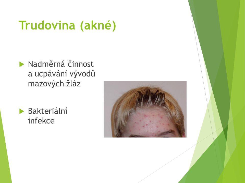 Trudovina (akné)  Nadměrná činnost a ucpávání vývodů mazových žláz  Bakteriální infekce