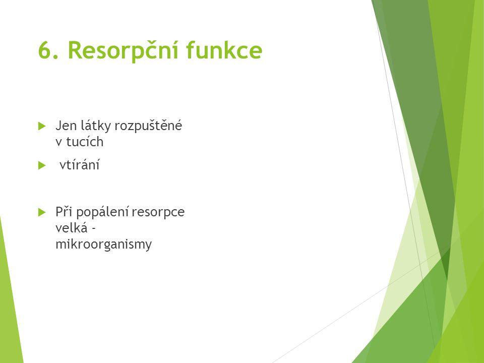 6. Resorpční funkce  Jen látky rozpuštěné v tucích  vtírání  Při popálení resorpce velká - mikroorganismy