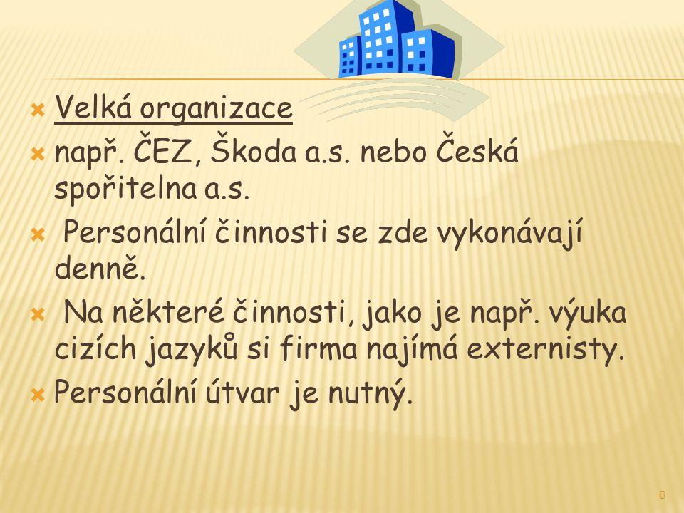  Velká organizace  např. ČEZ, Škoda a.s. nebo Česká spořitelna a.s.  Personální činnosti se zde vykonávají denně.  Na některé činnosti, jako je na