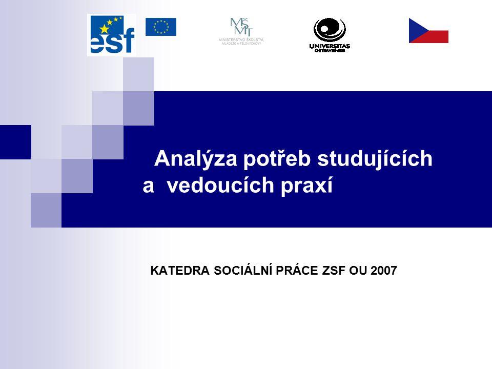 Analýza potřeb studujících a vedoucích praxí KATEDRA SOCIÁLNÍ PRÁCE ZSF OU 2007