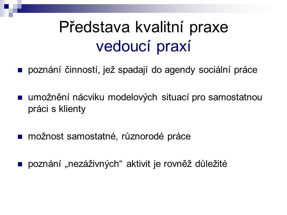 Témata z výzkumu k řešení pro pracovní skupiny 1.Cíle praxe: jejich realizace v praxi 2.