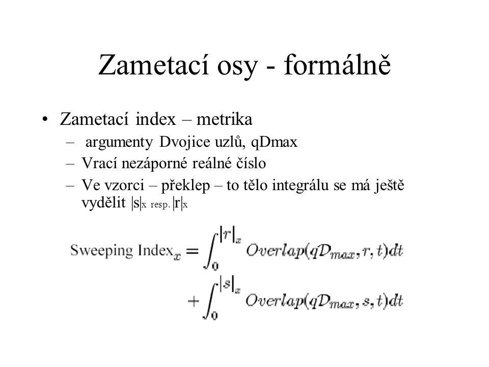 Zametací osy - formálně Zametací index – metrika – argumenty Dvojice uzlů, qDmax –Vrací nezáporné reálné číslo –Ve vzorci – překlep – to tělo integrálu se má ještě vydělit |s| x resp.