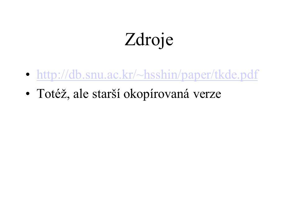 Zdroje http://db.snu.ac.kr/~hsshin/paper/tkde.pdf Totéž, ale starší okopírovaná verze