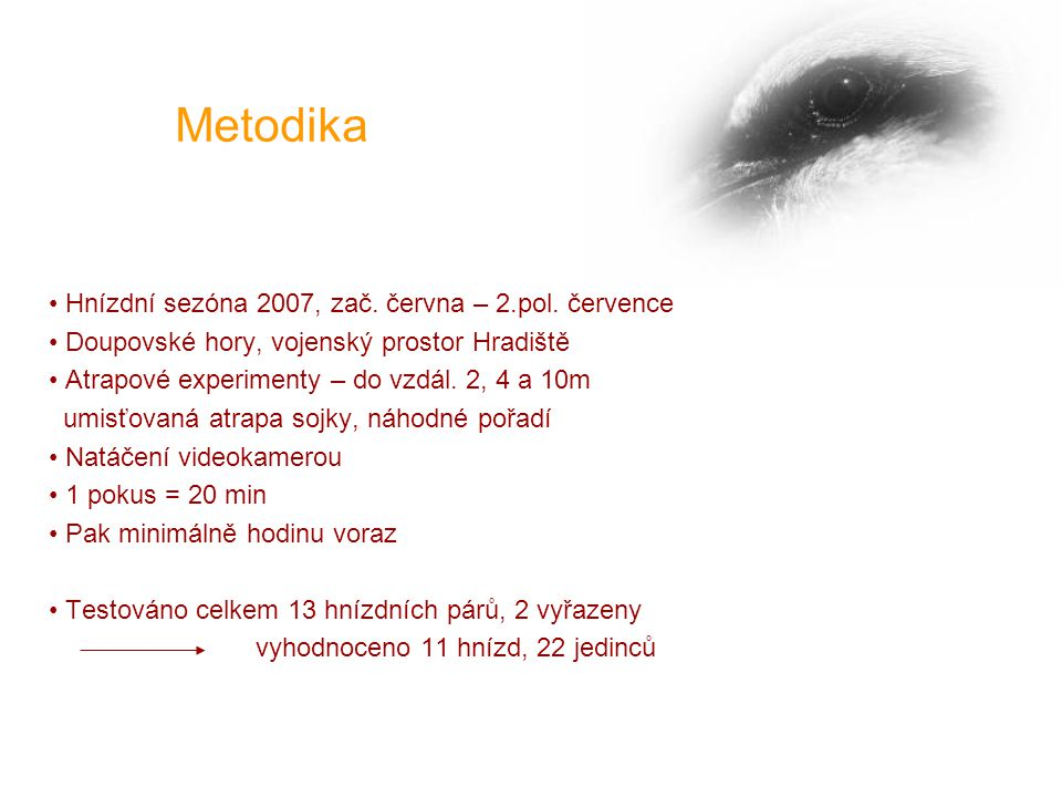 Metodika Hnízdní sezóna 2007, zač. června – 2.pol.