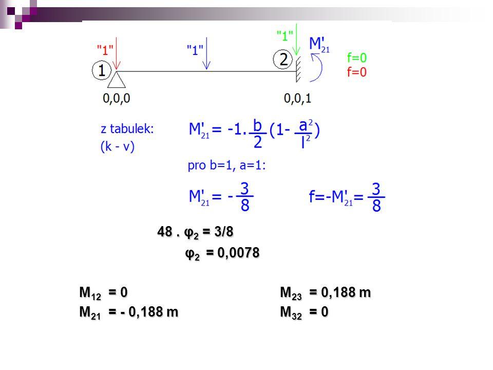 48. φ 2 = 3/8 48. φ 2 = 3/8 φ 2 = 0,0078 φ 2 = 0,0078 M 12 = 0 M 23 = 0,188 m M 21 = - 0,188 m M 32 = 0