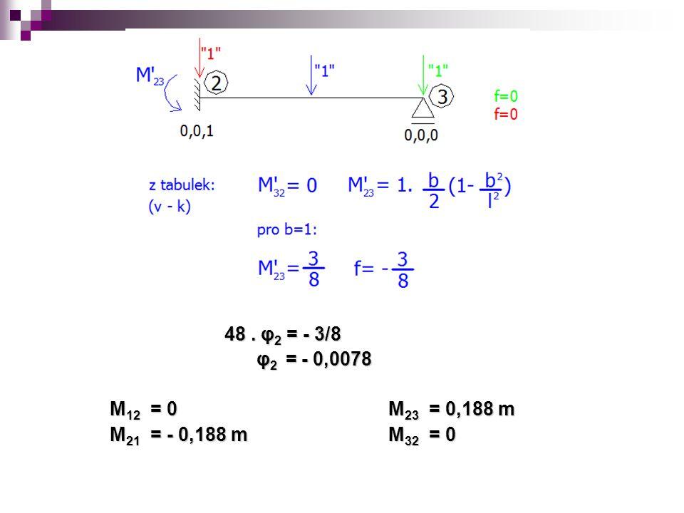 48. φ 2 = - 3/8 48. φ 2 = - 3/8 φ 2 = - 0,0078 φ 2 = - 0,0078 M 12 = 0 M 23 = 0,188 m M 21 = - 0,188 m M 32 = 0
