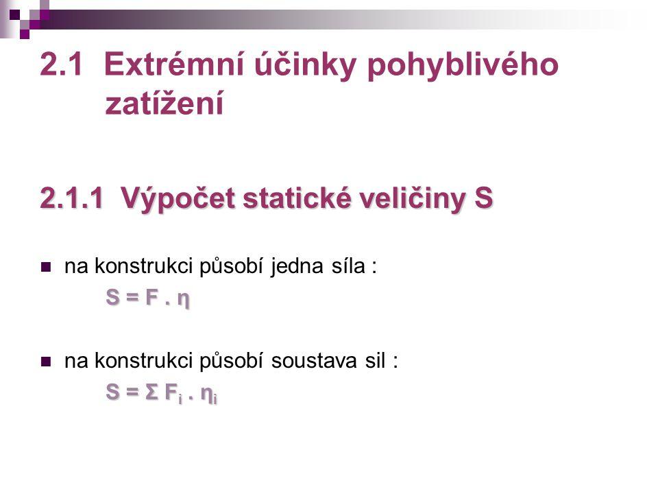 2.1 Extrémní účinky pohyblivého zatížení 2.1.1 Výpočet statické veličiny S na konstrukci působí jedna síla : S = F. η na konstrukci působí soustava si
